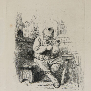[Original etching, ets] L.A. Carolus after C. Bega. Seated Peasant, published before 1850.