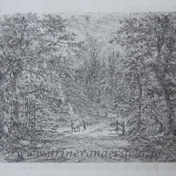 [Original etching, ets] G.E. de Micault. The cow in the Bentheim forest. (state I), published 1854.