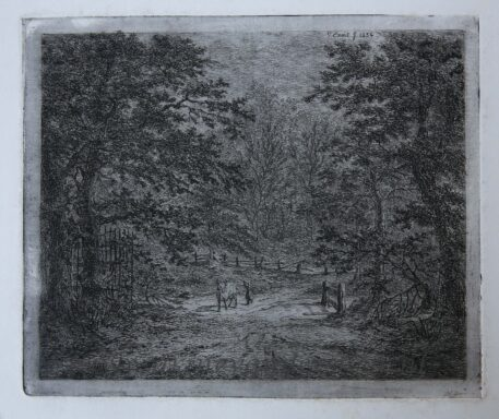 [Original etching, ets] G.E. de Micault. The cow in the Bentheim forest. (state II), published 1854.