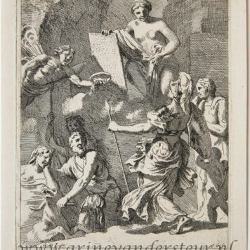 [Original etching, ets] J. Glauber, after G. de Lairesse, Allegory of printing/allegorie van het uitgeven, published 1650-1750.