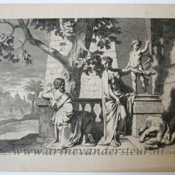 [Original etching, ets] J. Glauber, after G. de Lairesse, Christ breaks a statue, published 1650-1750.