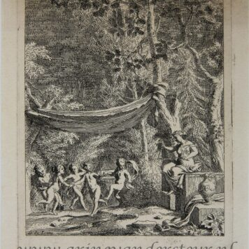 [Antique etching, ets] J. Glauber, after G. de Lairesse, Five putti dance to the music of a triangle.