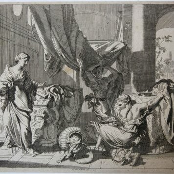 [Antique etching, ets] J. Glauber, after G. de Lairesse, Herse and Agraulos open the basket with the child Erichthonius.