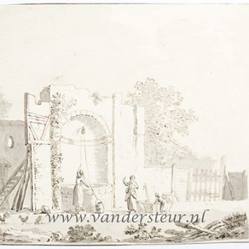 Landscape with a ruin and women beside a well