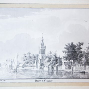 [Antique drawing] The village of Overschie in Zuid-Holland, dated 1761.