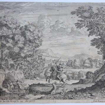 [Antique print, etching] St. George slaying the dragon [or Bellerophon slaying the Chimaera]/Sint Joris en de draak, 1666.