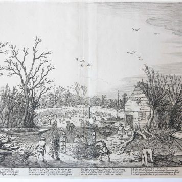 [Antique print, etching] Repairing the broken dike on the river Lek by Vianen, published ca. 1680.