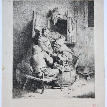 [Antique print, etching] A man caressing the young hostess, published ca. 1650.