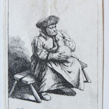 [Antique print, etching] A woman seated, holding a large jug, after 1664.