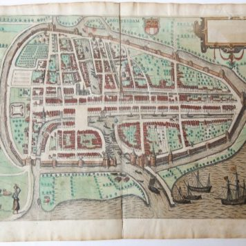 [Antique map, handcolored engraving] Rotterdam, published ca. 1582.