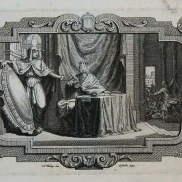 [Antique print, etching and engraving] Solomon writing the Book of Wisdom/De wijsheid van Salomo, 1744