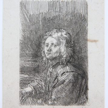 [Antique print, etching] Portrait of a young man in profile, published before 1680.