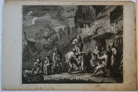 [Antique print, etching] Peasants before an inn, ca 1700.