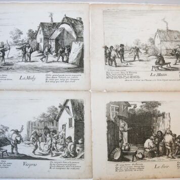 [Antique prints, etching, complete set] The four times of the day/Vier tijdperken van de dag, ca. 1677-1678.