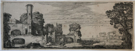 [Antique print, etching] River landscape with ruins of a castle [Set title: Landscapes and ruins]/Rivierlandschap met kasteelruïne, 1615.