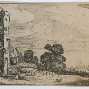 [Antique print, etching] Square tower and a church [Set title: Landscapes and ruins]/Vierkante toren met kerk, 1615.