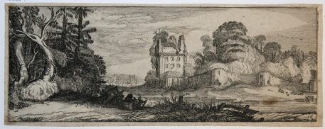 [Antique print, etching] Large tree and ruins with a tower [Set title: Landscapes and ruins]/Ruïne en grote boom, 1615.