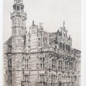 "[Modern Print, etching] ""Oude stadhuis"" (The Hague)."