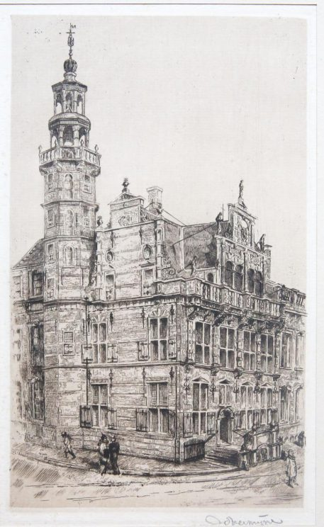 """[Modern Print, etching] """"Oude stadhuis"""" (The Hague)."""