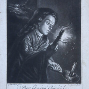 [Antique British mezzotint] Boy blowing Charcoal/Jongen blaast houtskool aan, published 1700-1750.