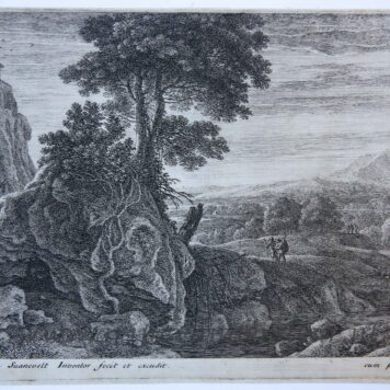 [Antique landscape print, etching] House on a rock [set: Twelve landscapes]/Huis op rots, published 1600-1650.