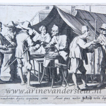 [Antique print, etching] The seller of snacks [set of the trades]/Verkoper van snacks, lekkernijen, published mid 17th century.