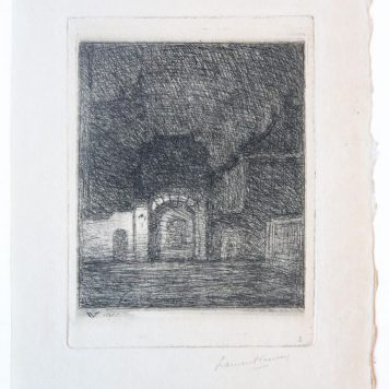 [Modern print, etching] City center at night (Stad in de nacht), published 1911.