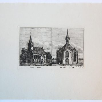 [Antique print, etching] Two churches (Oude en Nieuwe kerk In Den Haag?), published ca. 1854.