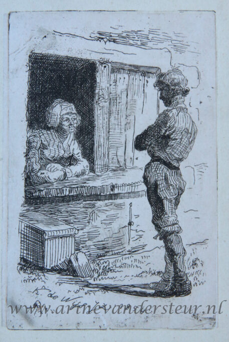 [Etching on Chine collé/ets] Talking in the window (Praten vanuit het raam), published 1854.