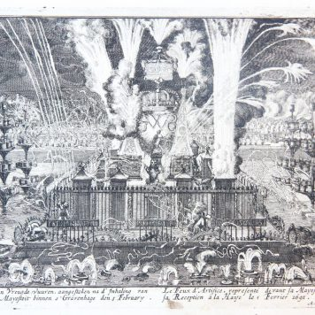[Antique print, etching] The fireworks in honor of king William III's visit to The Hague in 1691. (Vuurwerk voor Koning Willem III), published 1691.