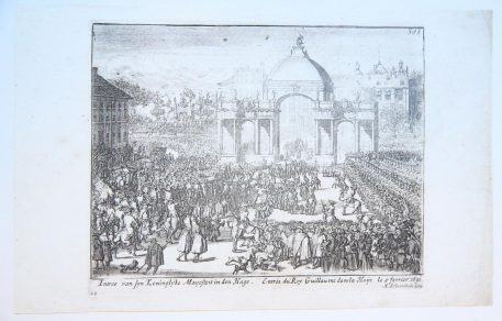 [Antique print, etching] The entrance of king William III's in The Hague in 1691.