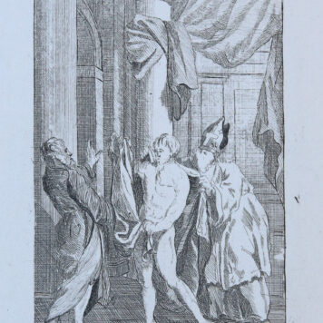 [Etching/ets] A naked man being dressed up again/Naakte man kleed zich weer aan, published 1802.