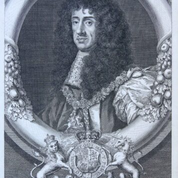 [Etching and engraving, portrait print] CHARLES II KING OF ENGLAND..., 1736.