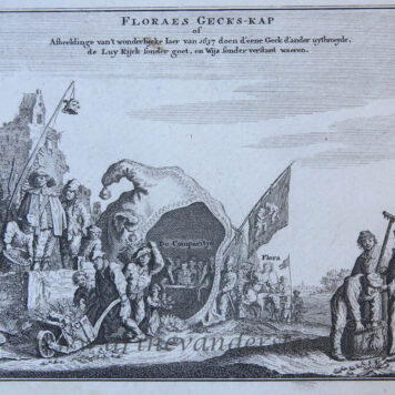 [Satirical print/spotprent] FLORAES GECK-KAP / Satirical print on the Tulip mania. ca. 1720.