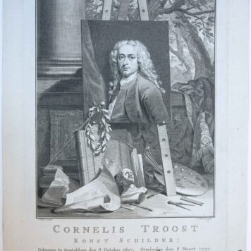 Portrait print of Cornelis Troost (1697-1750)