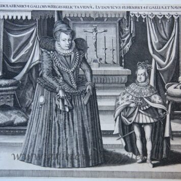 [Antique print, engraving] Portrait of Maria de'Medici and Louis XIII, ca 1610.