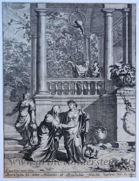 [Antique print, etching and engraving] The Visitation/De visitatie van de maagd Maria, published 1690-1700.