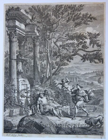 [Antique etching and engraving] Silvio with the wounded Dorinda/Silvio raakt Dorinda met een pijl, published 1690-1700.