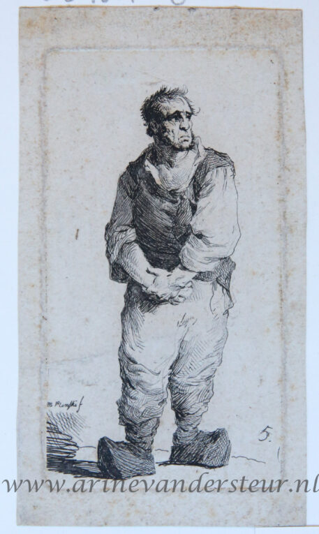 [Antique print, etching/ets] Farmer standing/Boer, published 1802.