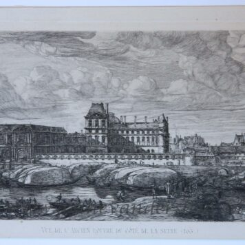 [Antique print, Etching on chine collé] The old Louvre/Het Louvre museum in Parijs, published 1866.