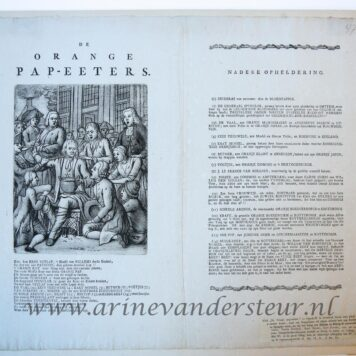 "[Mezzotint/Satirical print/Spotprent] ""De Orange pap-eeters"", with printed text, 1786."