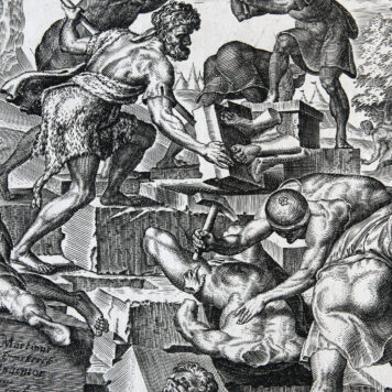 Biblical Print. Gideon and his men destroying the altar of Baal [Judg. 6:25-27].