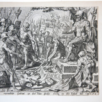 Biblical print: Gideon receiving a share from the spoils [Judg. 8:21-26]