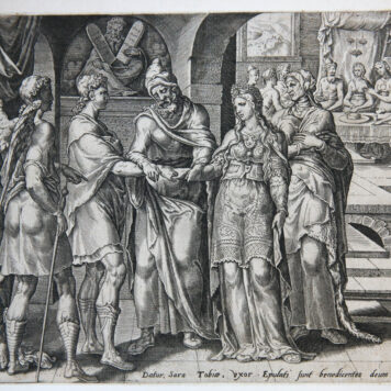 Biblical print/Bijbelse prent: The marriage of Tobias and Sarah [Tobit 7:14-17].