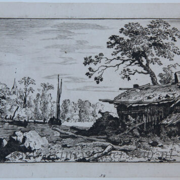 [Antique print, etching] The ruinous hut, published between 1631-1675.