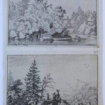 [Two etchings] The Cudgel Dam and the Covered bridge; two men on the hill. [two etchings], published 1631-1657.