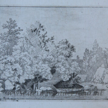 [Antique print, etching] The Cudgel Dam and the Covered bridge, published between 1631-1675.