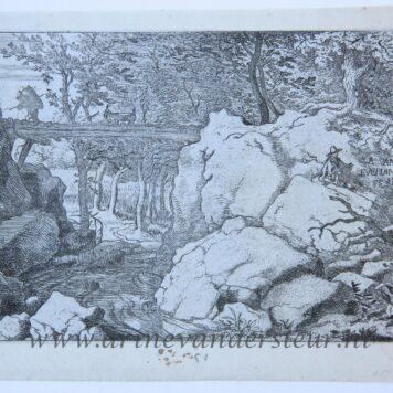 [Antique print, etching] The porter and the goat on a small bridge, published between 1631-1675.