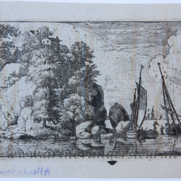 [Antique print, etching] The two boats on the river/Twee boten op een rivier, published between 1631-1675 .