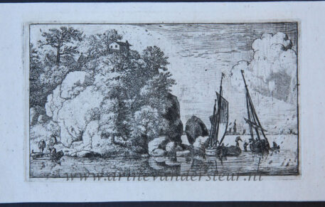 [Antique landscape print, etching] The two boats on the river/twee boten op een rivier, published between 1631-1675..